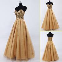 2015 In Stock Formal A-line Sparkling Gold Prom Dresses Graceful Sweetheart Long Evening Dresses Vestidos De Formatura SD033