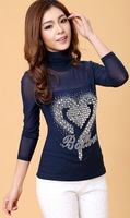 2014 new autumn lace bedding sweater gauze hot drilling long sleeved T-shirt small shirt blouse