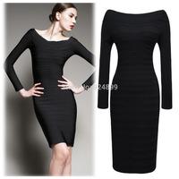 2014 New Fashion Women  Slash  neck Full  Sleeve Sheath Shift Party Cocktail  career dress Y146