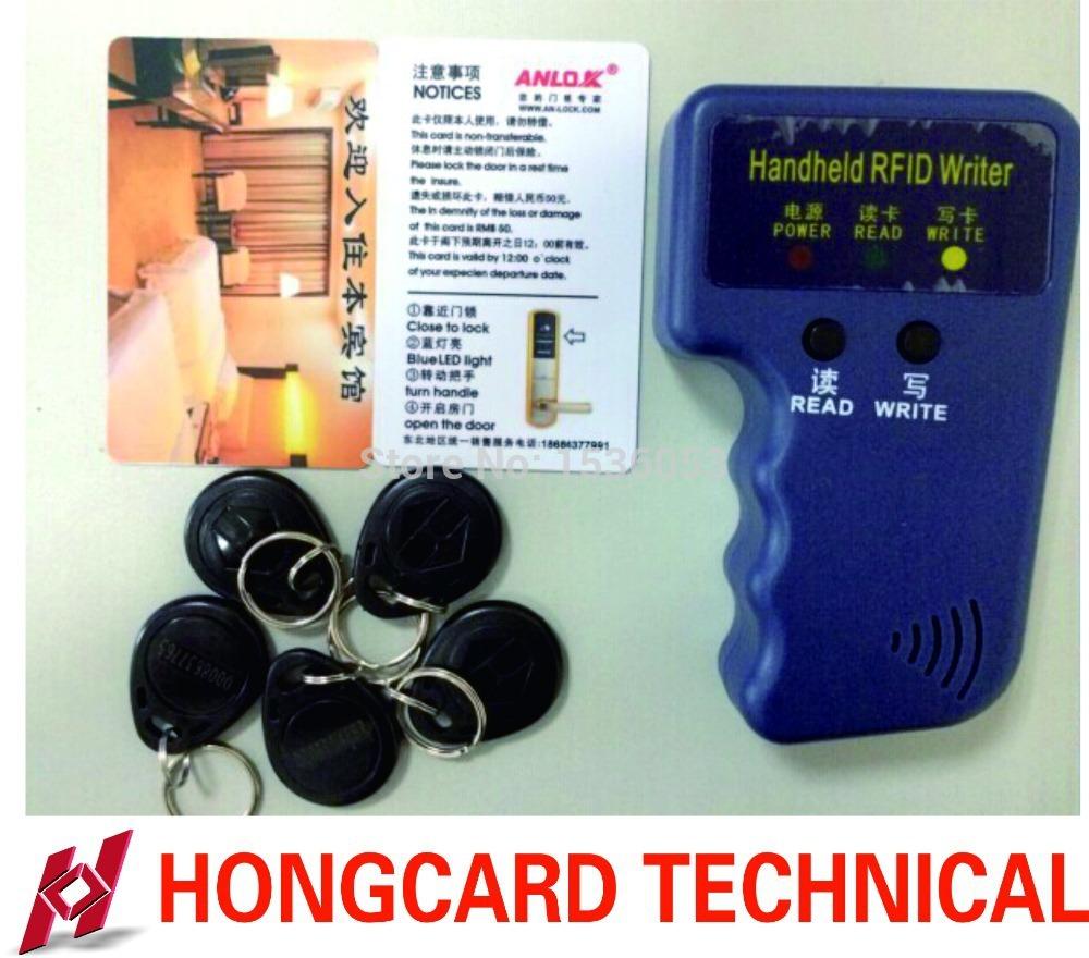 RFID Handheld Duplicator 125KHZ Card copier writer+5pcs5577 rewritable tags+3pcs T5577 rewritable cards(China (Mainland))