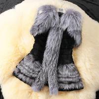 2014 New women fur coats Elegant fashion Faux Fox Fur Vest Contrast Color Patchwork fur vest Women rabbit fur coat 2 Color