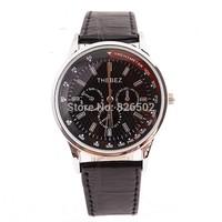 High quality Men quartz watch Business wristwatches waterproof round dial black PU leather