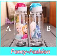 2014New Frozen plastic water bottle kids cartoon drinkware children straw cups cute cup tea kettle gift Free Shipping
