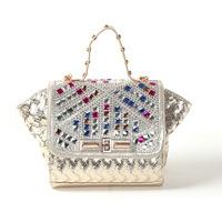Free shipping 2014 new summer handbags and fashion color diamond studded denim women's canvas bag bat shoulder bags