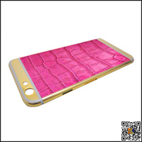 24k real gold housing with genuine leather for iphone 6