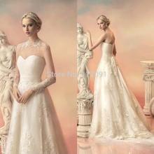Sarahbridal Elegant querida Lace a linha de vestidos de casamento graça apliques trem tribunal vestidos de noiva com jaqueta de renda removível(China (Mainland))