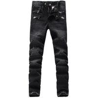 ripped jeans for men Free shipping High quality Black color fashion slim long denim cargo pants denim biker jeans