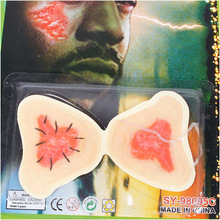 Funny 10 pcs/lot Simulation Fake Wound Prosthetic Fake Scar Halloween Costume Prop Trick #65687 (China (Mainland))