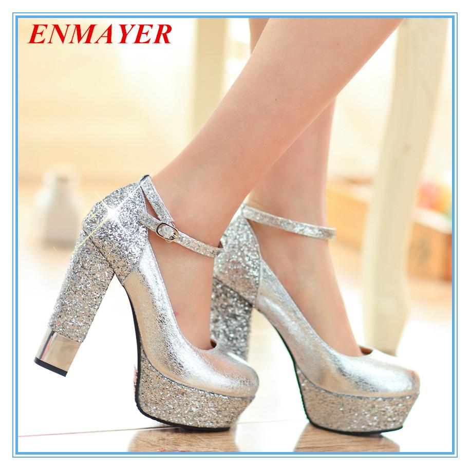 Silver Glitter Round Toe Pumps Round Toe Women Pumps Sexy