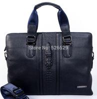 Free Shipping 3 colors men crocodile Alligator Pattern brand designer genuine leather handbag business briefcase messenger bags