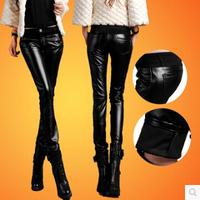 women leather pants fashion elastic leather leggings pants casual high waist Sexy penceil pant black warm  pants s323