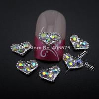50pcs Glitter heart nail charms Valentine's Day gft decoration wedding decor accessories MNS731