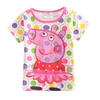 One Piece Peppa Pig Casual girls Fashion Clothing Summer Cartoon Bubble Tshirt Children Tops