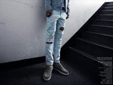 denim pants stonewashed distrresse white hole vintage plus size 2014 New Style Fashion Mens Personality Destroyed Denim Jeans(China (Mainland))