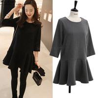 NEW 2014 Korean Style Fashion Sweet Joker Female Clothes Half Long Sleeve Black Slim Ladies Fashion Women Winter Dress 2154