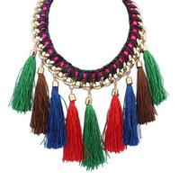New Fashion Designers Short Choker Statement Necklace Ethnic hand-woven Tassel Necklace & Pendant Earrings Set Jewelry XL110888