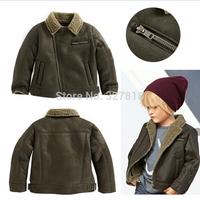 2014 winter new children's clothing male kids Europe fashionable warm boys army green coat Zipper jacket