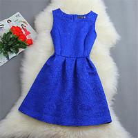 2014 Summer Autumn Sweet Wind Socialite O-neck Dress Slim Embossed Jacquard Vest Dress Plus Size Bud Dress For Women 10325