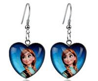 Retail wholesale Frozen heartshape glass clip/hook earring,royal blue glass Snow queen Elsa Anna earrings,princess girl earrings