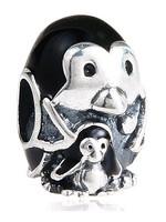 925 Sterling Silver Black Enamel Penguin Family Bead Fits European Jewelry Bracelets Necklaces Pendants