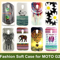 Flower Balloon Elephant Owl Wind Chimes Tribe Print Soft TPU Cover Case for Motorola G+1 MOTO G2 100pcs/lot DHL/EMS Free Ship