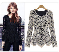 2014 New Arrival European American Style Women Long Sleeve Shirts with O-Neck Lace Blouse Black Womens T-shirts Long Sleeve