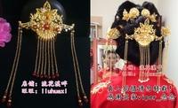 shake Hanfu accessories costume cheongsam bride Xiuhe clothing hair phoenix coronet Chinese wedding forehead decoration