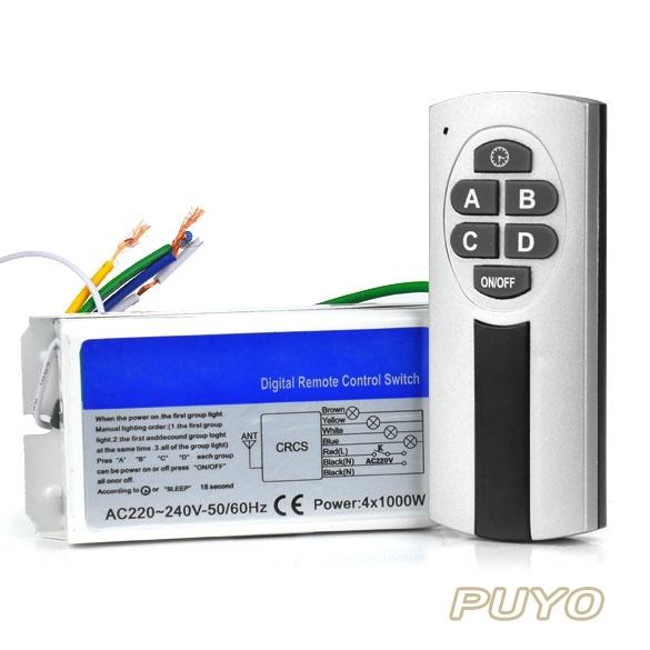 HOT SH Wireless 4 Channel Light Remote Control Press Switch+Transmitter 220V-240V TK0667(China (Mainland))