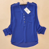 2014 NEW hot Female fashion Spring black V-neck long-sleeved solid color chiffon shirt Decorative metal buttons