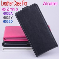 Free shipping   Flip up and down  Leather PU case for Alcatel idol Z mini S 6036A 6036Y  6036D phone case