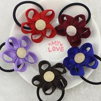 12pcs  6 colors  South Korean imports of new high-end hair rose Big Flower Hair Bands hair rope   headdress