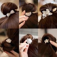 60PCS  South Korea hairpin new Korean jewelry exquisite small pearl diamond bow hair bands hair headdress head hair rope