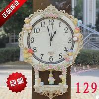 Wall clock fashion creative children bedroom European clocks mute resin rural art supe hanging Korean clock