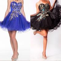 Peacock Royal Blue Short Evening Prom Dresses Black Mini Skirt Sweetheart Homecoming Cocktail Dresses Tulle SD039