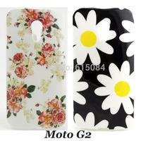 2pcs/lot New Arrival Soft TPU Flower Back case For Motorola Moto G2 G 2nd Gen XT1068 XT1069 Mobile Phone cover