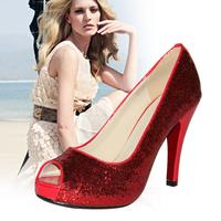 paillette Pumps Glitter High Heels Red Pump Fashion Shoes Woman Heeled Big Size Pump