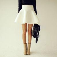 Slim Dress 2014 Summer Autumn Big Plus Size Women White Vintage Ladies Saia High Waist Flared Puff Skirt Mini Skater Ball Skirts