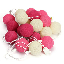 20 Fabric for Pink White Cotton Ball String Fairy Lights Xmas Wedding Party Home Romantic Decoration Lamp Bulb Free Shipping(China (Mainland))