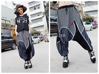 Elastic Waist Women Girl Lady Mix-color Baggy Harem Hippie Pants Hip Hop Big-crotch Harem Pants Trousers Free Size FS3056