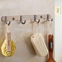 Free Shipping Bathroom Row Towel Hooks Wall Mounted Solid Brass Coat / hat Hooks