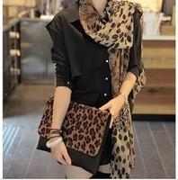 2014 women fashion Europe Leopard silk scarf chiffon scarf Sun fall/winter scarves ladies soft warm elegant