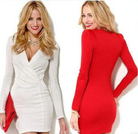 2014 one-piece dress long-sleeve slim hip skirt tight