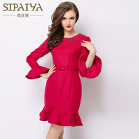 2014 new autumn and winter Long-sleeved woolen dress Slim was thin fragrant wind beading bottoming dress Banquet party