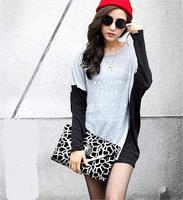 2014 Hot sale Free shipping Fashionable Fashion Leisure All-match T-shirt Hit Color Mosaic Dovetail Knitting T-shirt