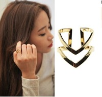 "2014 High Quality Adjustable  multilayer hollow out smooth ""V "" shape Vintage gold/silver Plated Ring Women Men Jewelry JZ-084"