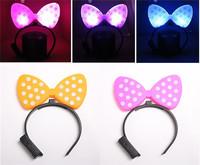 15pcs/lot Flashlight LED Headband Party Decoration Hair Band Decor Bowknot Mouse Style Christmas Party Gift