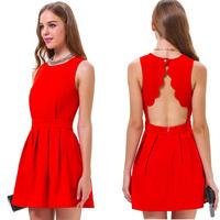 Temperament Lady Dresses 2015 New Arrival women backless dress red color Evening Party mini Dress vintage casual vest dress