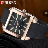 New CURREN Fashion Casual Quartz Watches Men Luxury Brand Rubber Strap 3ATM Waterproof Rose Gold Watch Male Clock 8145