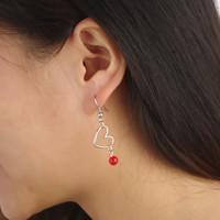 New Jewelry Women / Girl Silver Alloy Heart Earrings High Quality Tassel Pearl Stud Earrings 3Pair/Lot