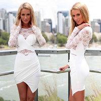 Vestido branco renda Women dress sexy vestido feminino 2014 long-sleeved lace stitching irregular dress vestidos curto